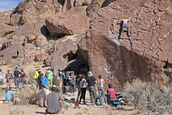 crowd in the happy boulders